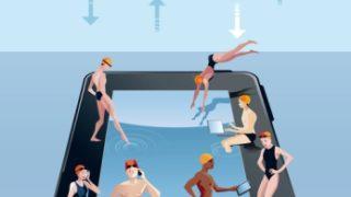 Digital Tablet As Swimming Pool Blue